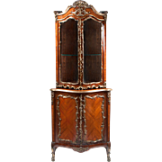 19th C. Louis XV Encoignure Vitrine or Corner Cabinet Mounted in Ormolu