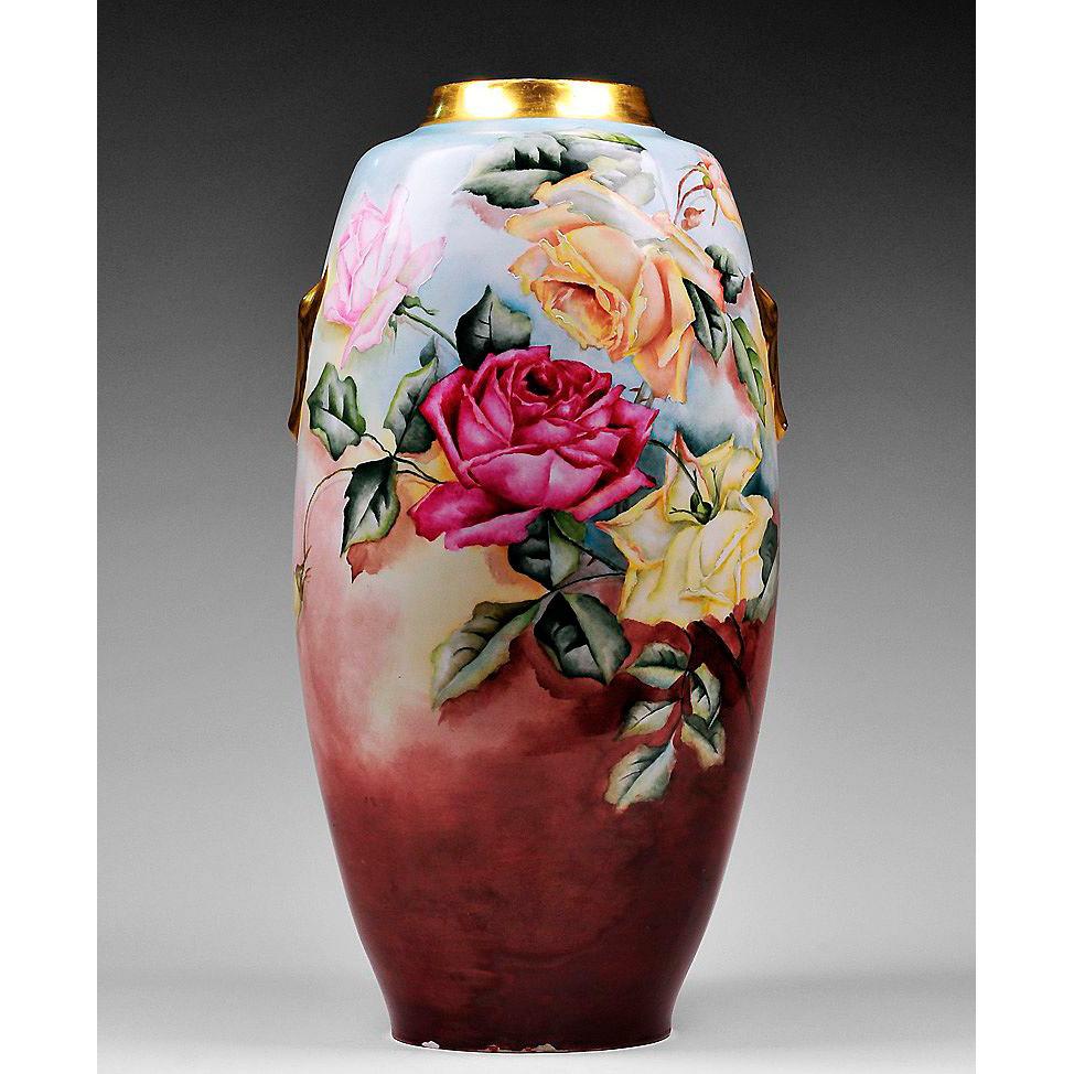 Paris Porcelain Hand Decorated Vase Fitted For Lamp Pia: Hand Painted Floral Paris Porcelain Vase From Piatik On