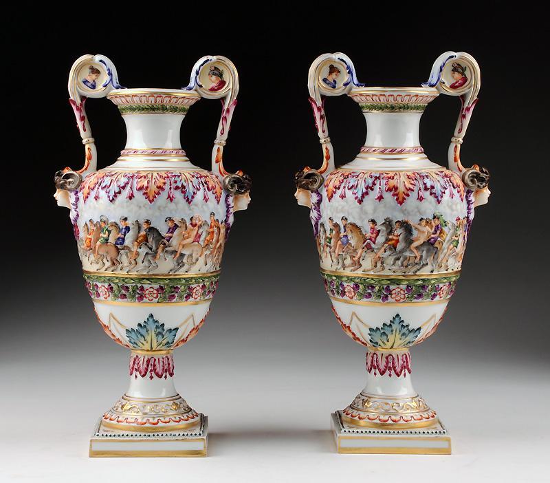 Pr. of Rudolstadt Capodimonte Style Urns