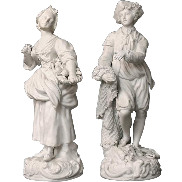Pair of French Biscuit Ware Figurines