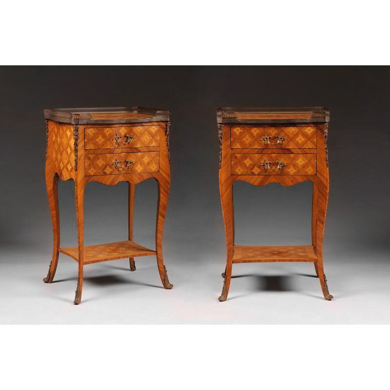 Pair of Louis XV Style Two Drawer Commodes Or Nightstands
