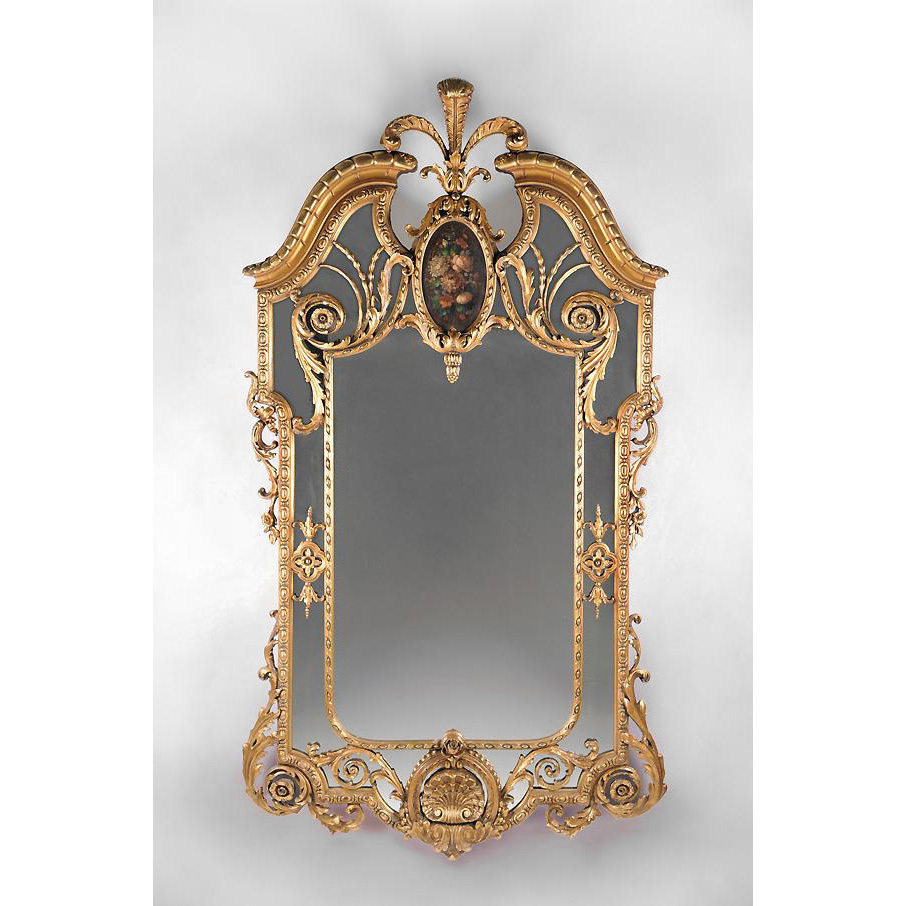 19th Century English Giltwood Margin Glass Mirror