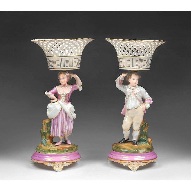 Pr. Paris Porcelain Gillet & Brianchon Figural Compotes