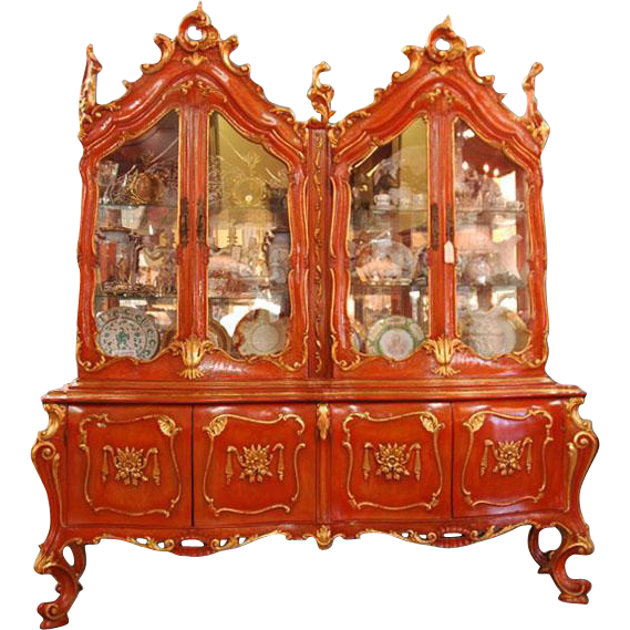 Mid 20th C. Carved Venetian China Cabinet Polychromed in Chinese Red Enamels
