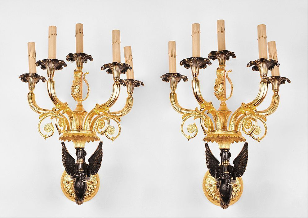 Pair of French Empire Style Dore Bronze Patinated Sconces