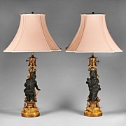 Pair of Patinated and Gilt Bronze French Figural Lamps