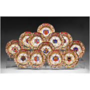 Set of 12 Capodimonte German Porcelain Heraldic Dinner Plates