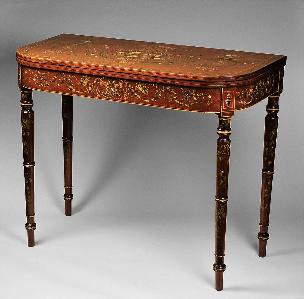 Edwardian Games Table With Hand Painted Floral Decoration