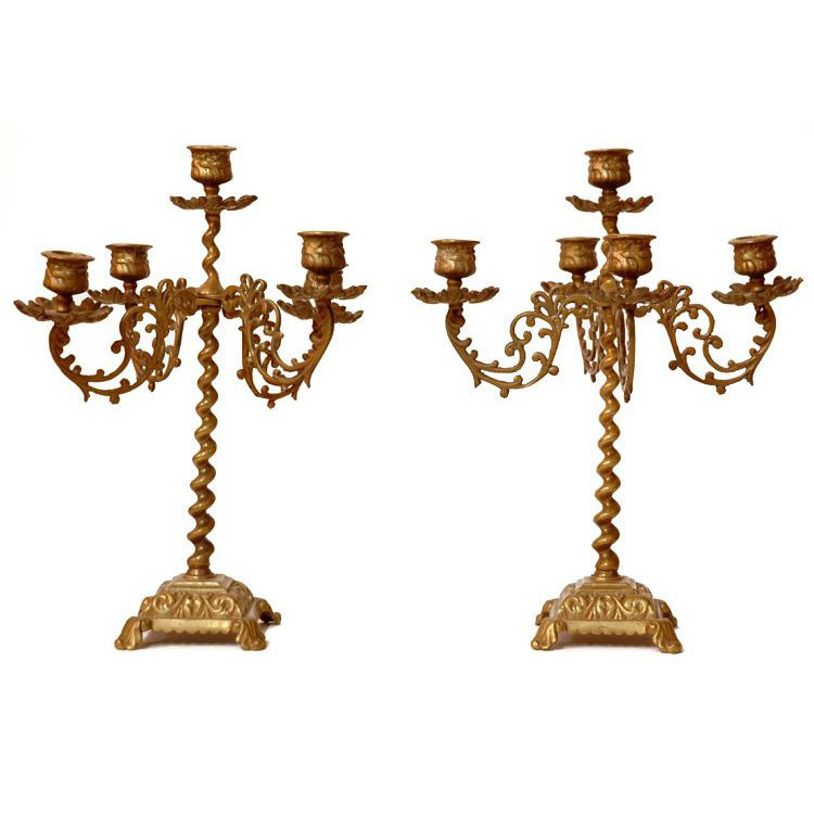 Pair of 19th C. English Barley Twist Brass Five Branch Candelabras
