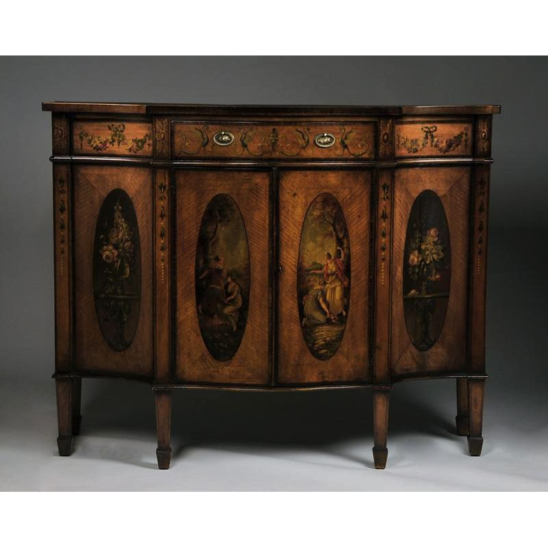 Late 19th C. Adams Style Painted Satinwood Cabinet