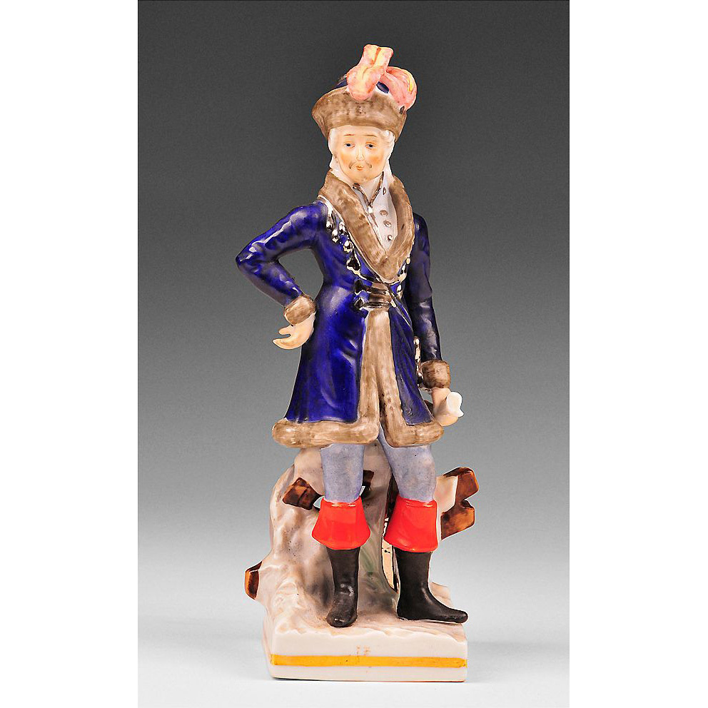 Voight Brothers Sitzendorf Porcelain Figurine of Russian Soldier