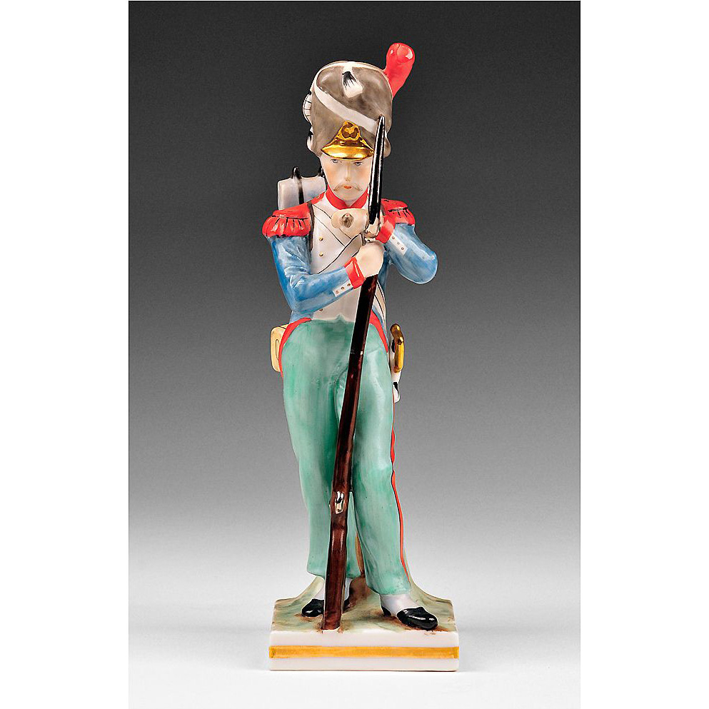 Voight Brothers Sitzendorf Porcelain Figurine of French Soldier