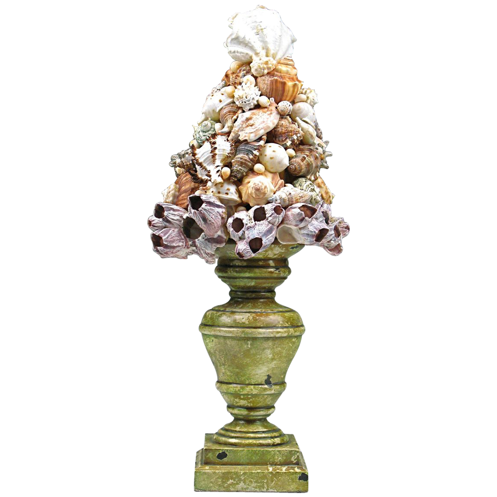 Vintage Tramp Art Shell Topiary From Piatik On Ruby Lane