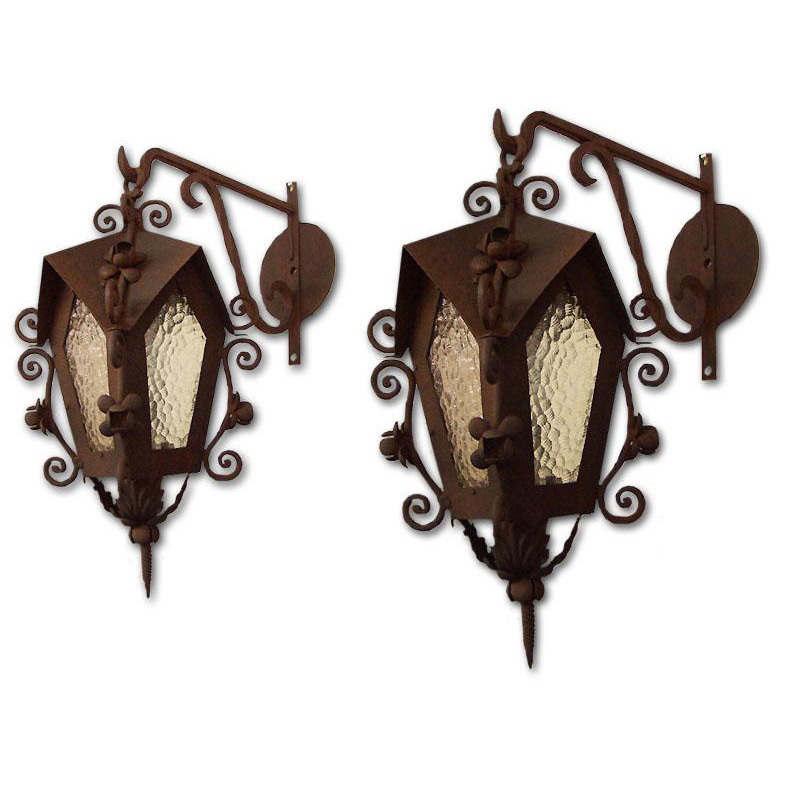 Pair of Vintage Wrought Iron Outdoor or Indoor Hanging Lanterns