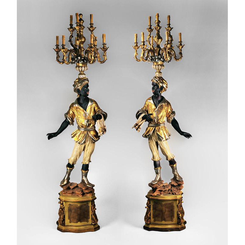 Hand Carved Polychromed Italian Blackamoor Torchieres