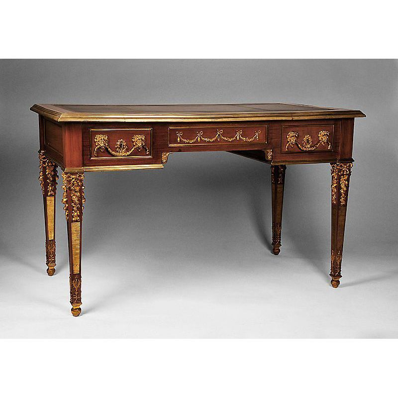 Neoclassical Louis XVI Writing Table or Bureau Plat Desk With Bronze Mounts