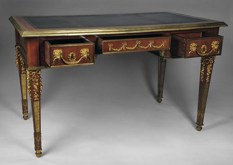 neoclassical louis xvi writing table or bureau plat desk with bronze from piatik on ruby lane. Black Bedroom Furniture Sets. Home Design Ideas