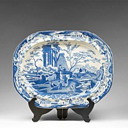 Large 19th C. Transferware Blue and White Platter