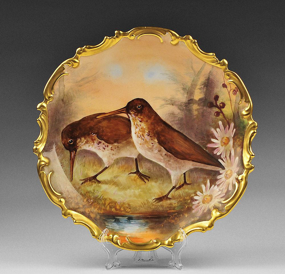 French Limoges Wall Charger With Birds
