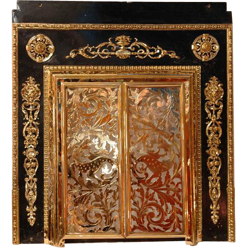 19th C. French Pierced Brass Fireplace Screen Mounted To Surround