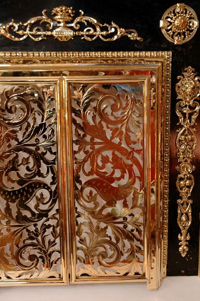 19th C. French Pierced Brass Fireplace Screen Mounted To Surround ...