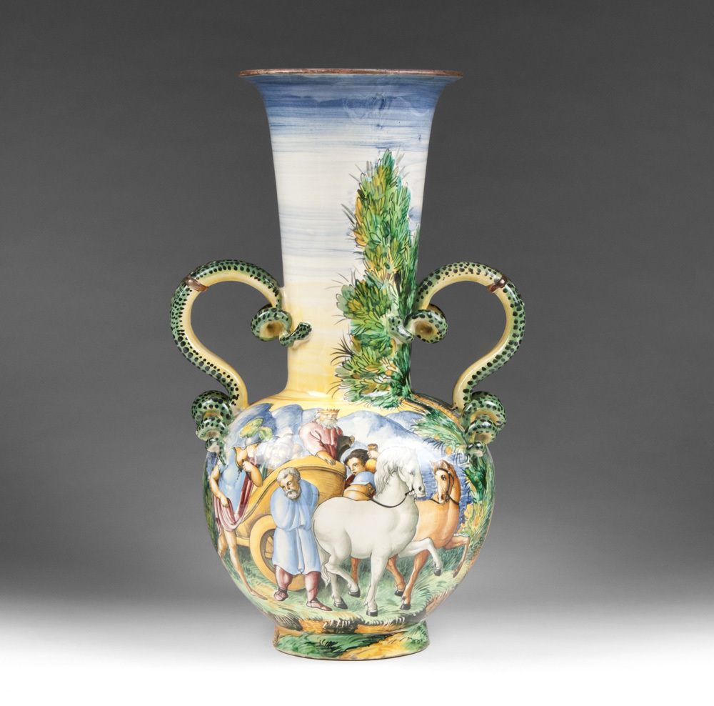 Tin Glazed Hand Painted Italian Majolica Snake Handle Vase