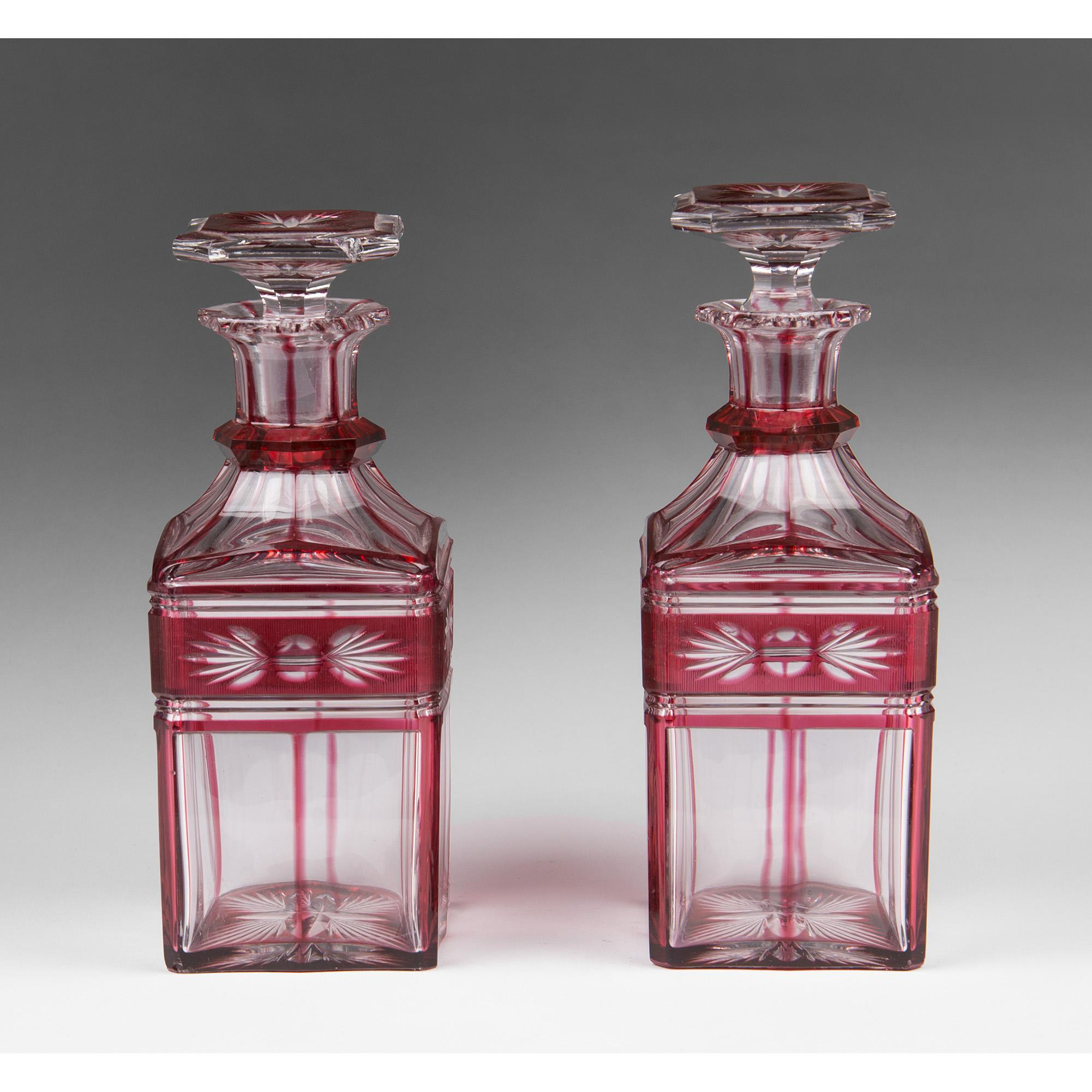 Bohemian Ruby Cut to Clear Glass Liqueur Bottles