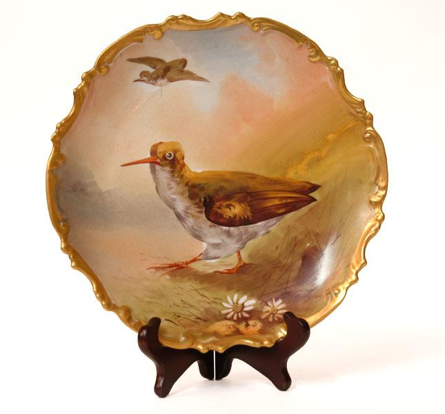 Limoges Game Fowl Charger, Artist Signed