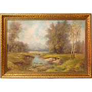 Early 20th C. Pastoral Oil On Canvas In Gilt Frame
