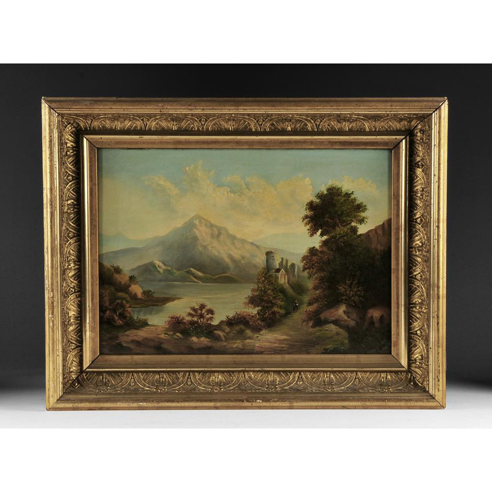 Scenic Swiss Oil Painting on Canvas of Landscape, 19th Century