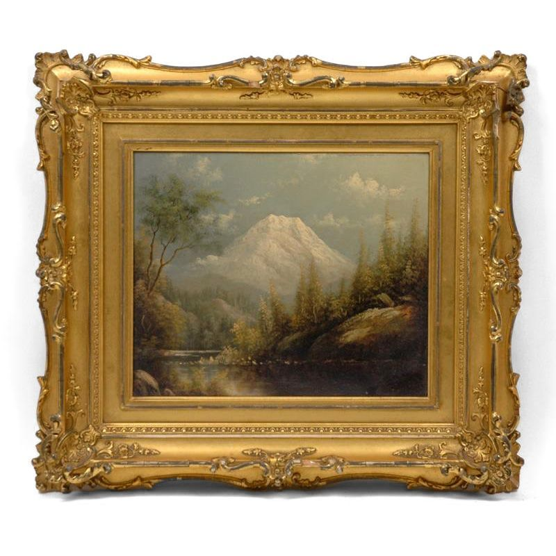 Oil on Panel by Eliza Barchus (1857-1959) of Mt. Rainier