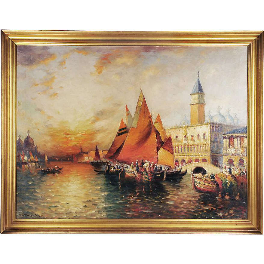 O/C Venetian Harbor Landscape by Richard Dey de Ribcowsky