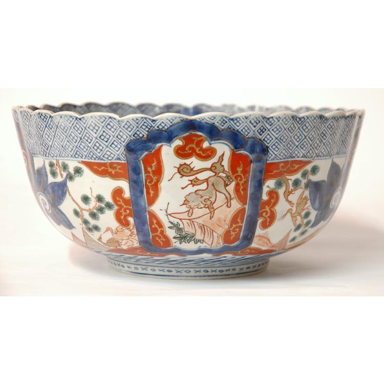 Japanese Edo Period Imari Punch Bowl