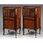 Pair of French Regence Commodes Or Nightstands With Faux Leather Book Door