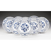 Set of 8 Meissen Blue Onion Reticulated Plates