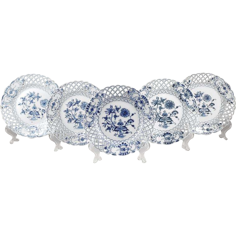 Set of 5 Blue Onion Meissen Style Reticulated Plates