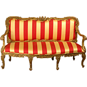 18th C. Venetian Rococo Parcel Gilt Hand Carved Settee