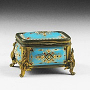19th C. French Blue Enamel Casket Fitted With Ormolu