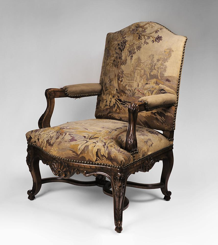 Carved 19th C. Louis XV Armchair with Aubusson Tapestry