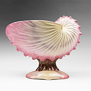 1870, English Pearlware Nautilus Shell Compote and Bowl