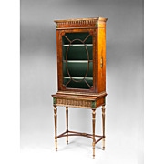 Satinwood Sheraton Painted Display Cabinet; 19th C