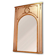 Belle Epoque Louis XVI Parcel Giltwood Carved Trumeau Mirror