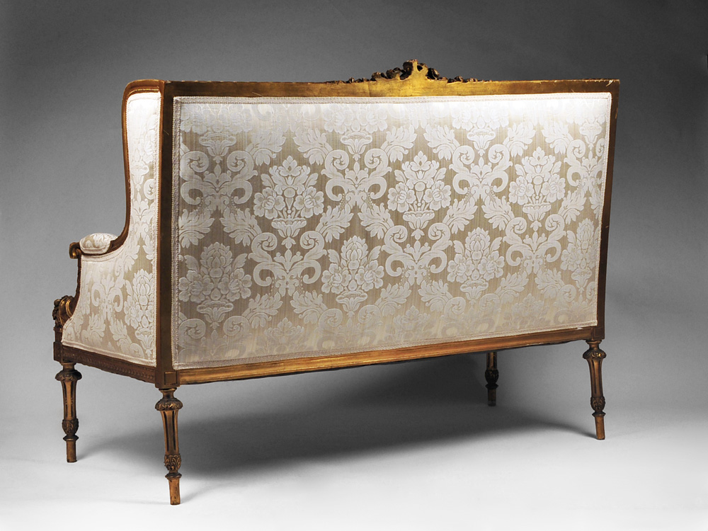 19th c louis xvi giltwood canape a confidente or sofa from rubylane sold on - Canape poltrone et sofa ...