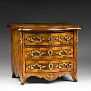 19th C. Louis XV Bronze Mounted Miniature Commode or Chest