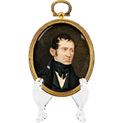 1842 Watercolor Miniature Portrait of Gentleman by J. Evers