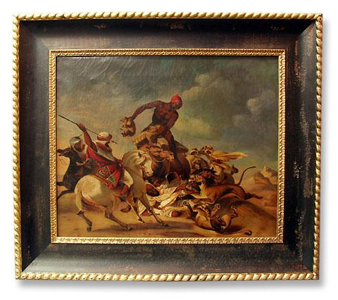 19th C. Oil Painting After Adolph Schreyer, Lion Hunt (1828-1899)