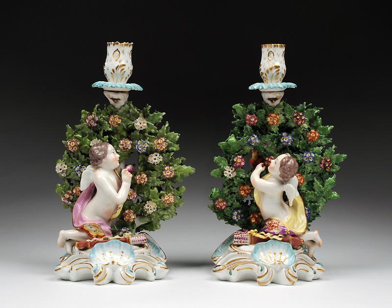 Chelsea Gold Anchor Style Bocage Figural Candlesticks by Edme Samson