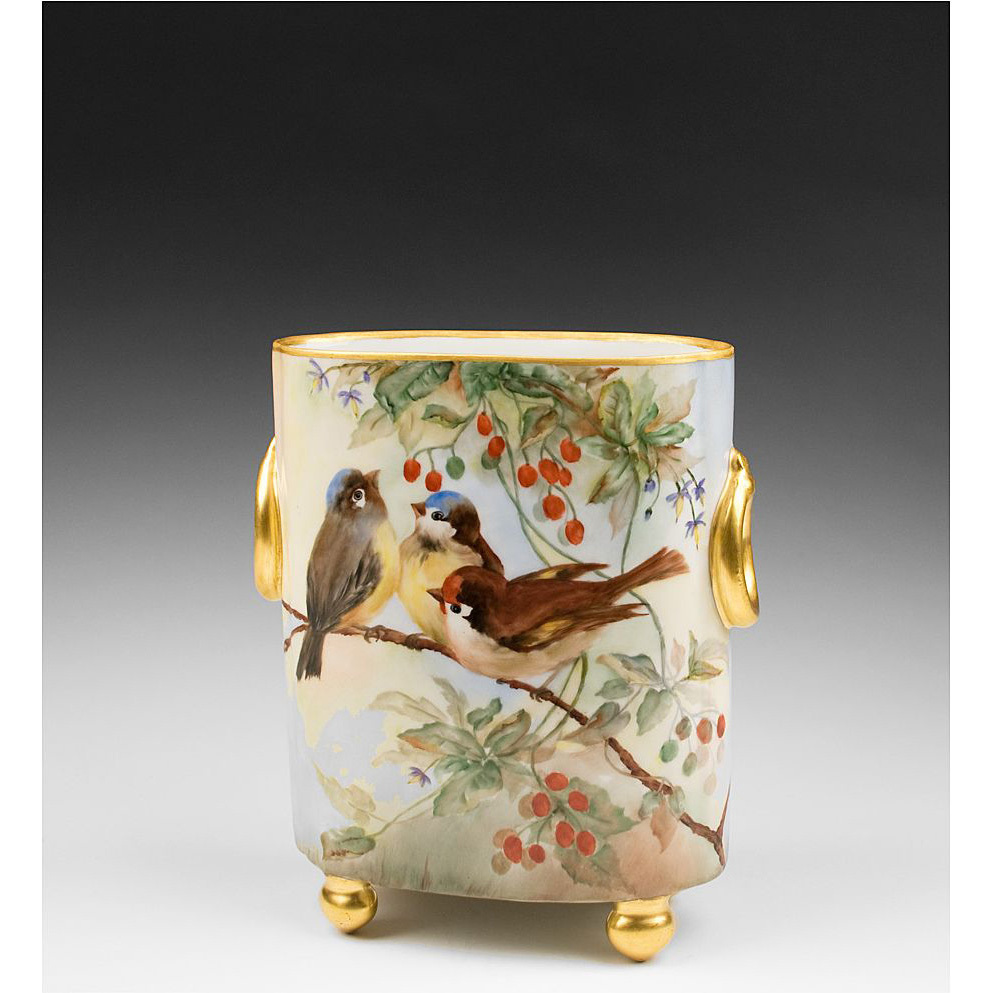 Hand Painted Limoges Cache Pot Vase With Birds