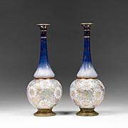 Royal Doulton Stoneware Long Neck Vases Floral Tapestry Pattern