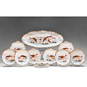 19th C. Coiffe & Touron Limoges Hand Painted Fish Set, 15 Pcs.